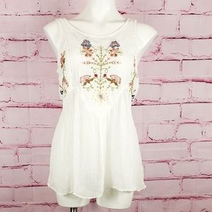 Free People Sheer Embroidered Boho Sleeveless Top
